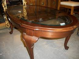 ethan allen glass coffee table dark brown oval traditional wood ethan allen coffee tables with