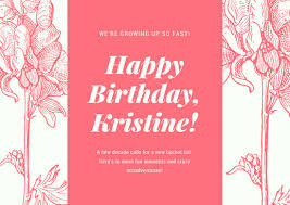 pink floral illustration pattern 30th birthday card templates by