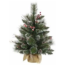 2ft unlit snow tipped pine and berry artificial tree in