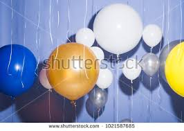 large balloons blue white balloons office stock photo 773298748