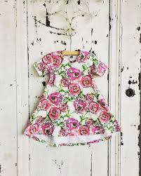 girls floral dress hi low tee shirt dress autumn kids clothing
