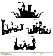 vector black castle silhouettes set on white stock vector image
