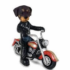rottweiler motorcycle doogie collectable figurine
