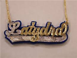 name plates necklaces gold gold plated name plate necklace blue onyx personalized chain a1