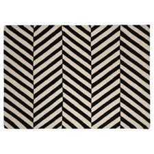 buy wool black and white herringbone chevron rug 120x170 from our