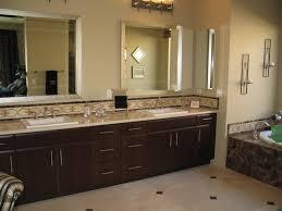 rectangle shape dark brown wooden vanity marble master bathroom
