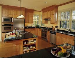 made black granite countertop style and wooden kitchen cabinet