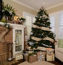 burlap decorated christmas family room traditional with fireplace