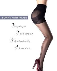 women u0027s pantyhose black control top sheer tights nylons 3