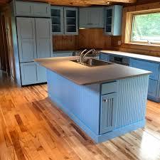 blue kitchen cabinets in cabin remodel log cabin kitchen