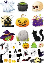3 set with 31 vector halloween illustrations of black cats scary
