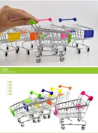 12 pieces lot storage mini shopping cart trolley shape desktop