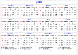 2018 printable calendar with us uk holidays printable calendar