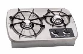 flame king ysnht600 lp gas drop in 2 burner rv cooktop stove with