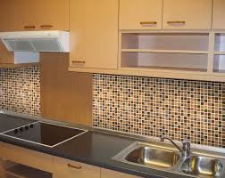 kitchen backsplash ideas with brown tile wall decor and double