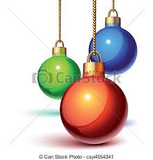 vector clip art of christmas ornaments hanging over white