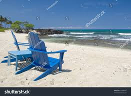 Two Beach Chairs Two Empty Blue Adirondack Style Chairs Stock Photo 51648487