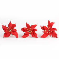 Christmas Cake Decorations Poinsettia by Holly Berries And Poinsettia Combo 2 Sprays Holly Berries