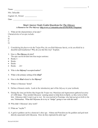 short answer study guide questions for the odyssey