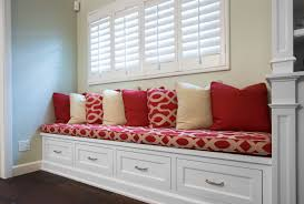 Storage Bench With Drawers A Sitting Storage Bench With Drawers And Upholstered Cushion