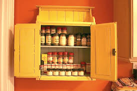 Traditional Kitchen Design With Orange Wall Paint And Homemade