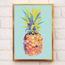 pineapple print a4 or a3 pineapple decor pineapple wall