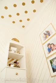 Striped Bathroom Walls Gold Sharpie Walls And Vinyl Polka Dot Ceiling Cuckoo4design