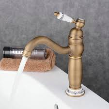 Tall Single Handle Bathroom Faucet Traditional Antique Bronze Brass And Cold Single Handle Tall