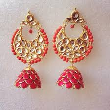 pachi earrings coral kundan pachi earrings online shopping for earrings by ze