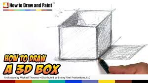 how to draw 3d shapes art for kids 3d box drawing lesson mat