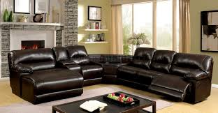 glasgow reclining sectional sofa cm6822br in brown leatherette