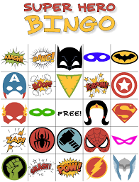 free printable halloween bingo game cards free printable super hero bingo party