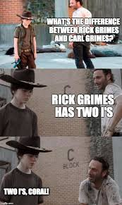 Rick And Carl Meme - rick and carl 3 meme what s the difference between rick grimes and