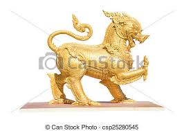 gold lion statue gold lion statue isolated on white background stock photo