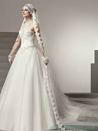 crinkle halter ball gown wedding dress with illusion neckline ball