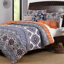 Moroccan Bed Sets Bedroom Cool 3 Grey Orange Cotton Size Quilt Bedding