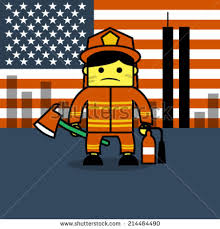 cartoon fireman holding hydrant water pipe stock vector 404530486