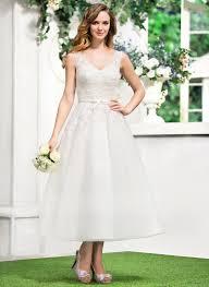 a line princess v neck tea length tulle lace wedding dress with