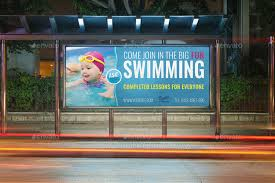 swimming billboard template by owpictures graphicriver