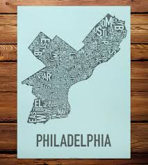 Chicago Neighborhood Map Poster by Philadelphia Neighborhood Map Art Print Features Local Pride