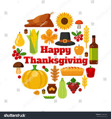 thanksgiving symbol happy thanksgiving day design holiday objects stock vector