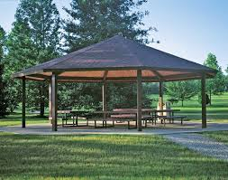 Metal Pergolas With Canopy by Steel Frame Single Roof Santa Fe Octagon Pavilions Pavilions