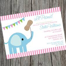 peanut baby shower elephant invitation lil peanut baby shower invitation