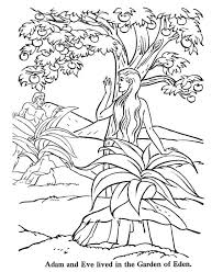 adam and eve lived in the garden of eden colouring page