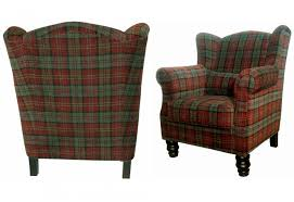 Tartan Armchairs Xyz William Wing Chair Traditional Style Velvet Plaid In 3