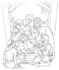 jesus mary joseph and the three kings coloring page royalty free