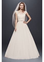 Davids Bridal Wedding Dresses Tulle Wedding Dress With Lace Illusion Neckline David U0027s Bridal