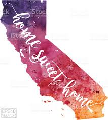 Map Of Calif Home Sweet Home Vector Watercolor Map Of California Stock Vector