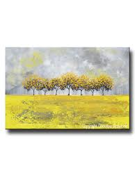 print art abstract painting yellow trees wall decor