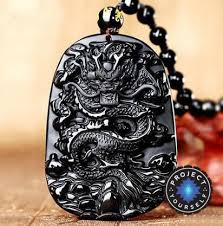 dragon necklace pendant images Natural black obsidian dragon drop pendant necklace project yourself jpg